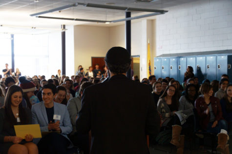 Student favorite, P.J. Bracco, delivers Career Day keynote speech reflecting on his journey