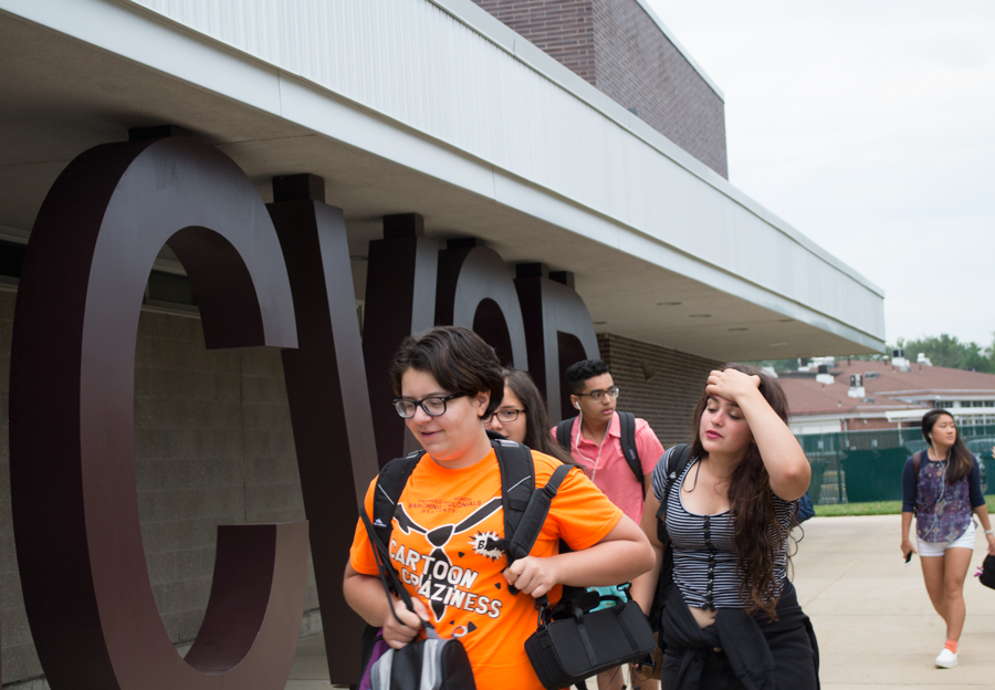 Students arrive in the morning at CHS, which was ranked in Newsweek as the 27th best high school in the nation.