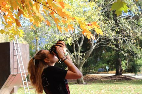 Senior Caitlyn Siminerio takes a photo during a Photo Club sponsored trip to Grounds for Sculpture in the 2015-16 school year.