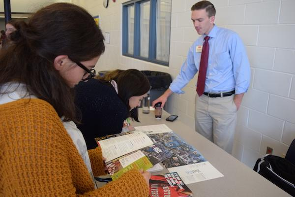 Junior Courtney Kushnir of Colts Neck checks out the college visiting.