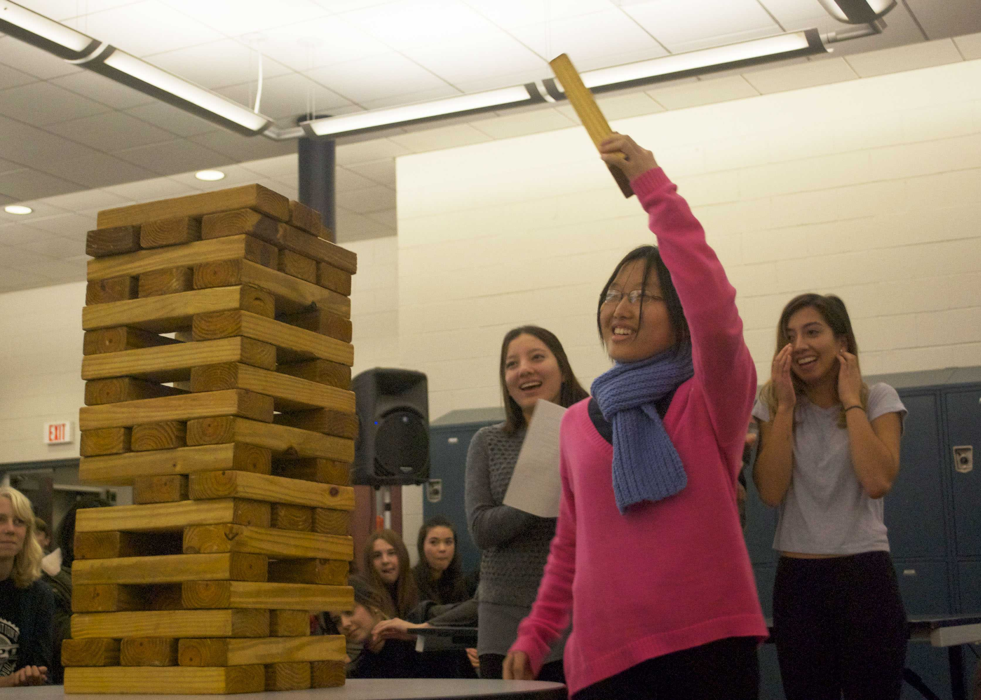 Senior Jessica Jo of Oceanport competed for the winning Jenga team.