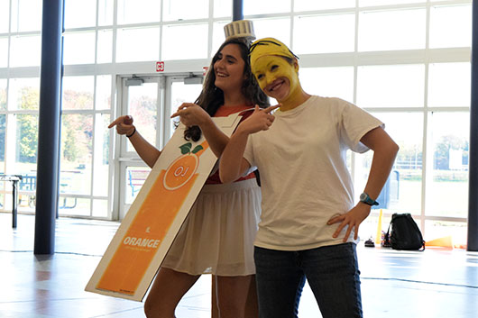 Seniors won the majority of the costume contest categories on Halloween. Funniest Costume went to seniors Anna Vernick of Ocean and Dani Delgado of Hazlet, dressed as
