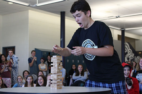 Tuesday's theme was Pajama Day and the lunchtime competition was Jenga. Freshman Vaughn Batista of Tinton Falls was a member of his class's team, coming in last place.