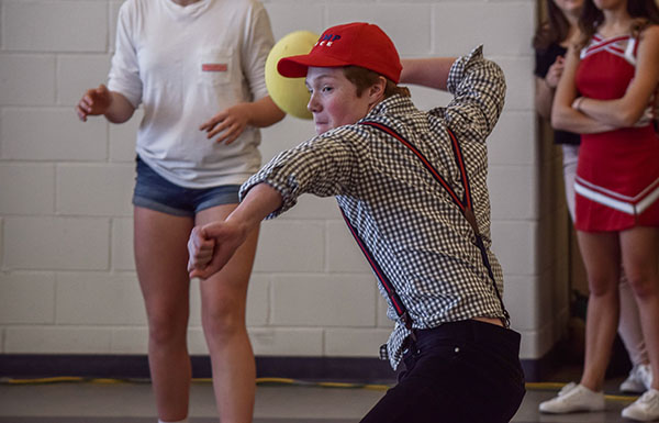 Dodgeball was the lunchtime competition for the final day of Spirit Week. Spirit Week winners were announced at the end of the day; the seniors and freshmen finished in a never-before-seen tie for first place.