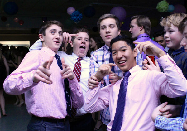Freshmen, from left, Sawyer Barth of West Long Branch, Mike Cielecki of Spring Lake Heights, Ben Hewson of Fair Haven and Evan Kuo of Tinton Falls enjoy their first Winterball.