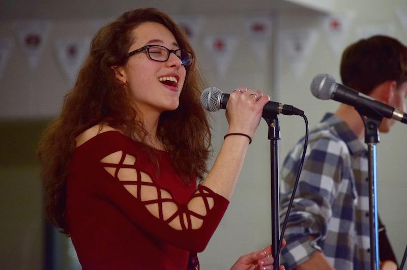 Junior Cara Pesciotta of Millstone sang in her band, Square One, to open the night.