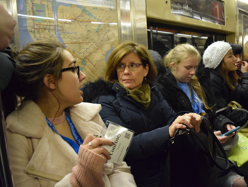 Inkblot junior editors traveled by subway during their three-day trip to New York City.