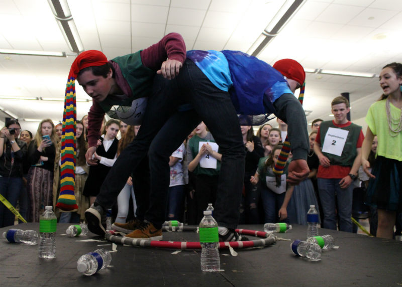Sophomore Kyle Wheeler of Wall and junior Matthew Avena of Middletown compete in the last round of Elephant Bowling, where the sophomores ended in first place.