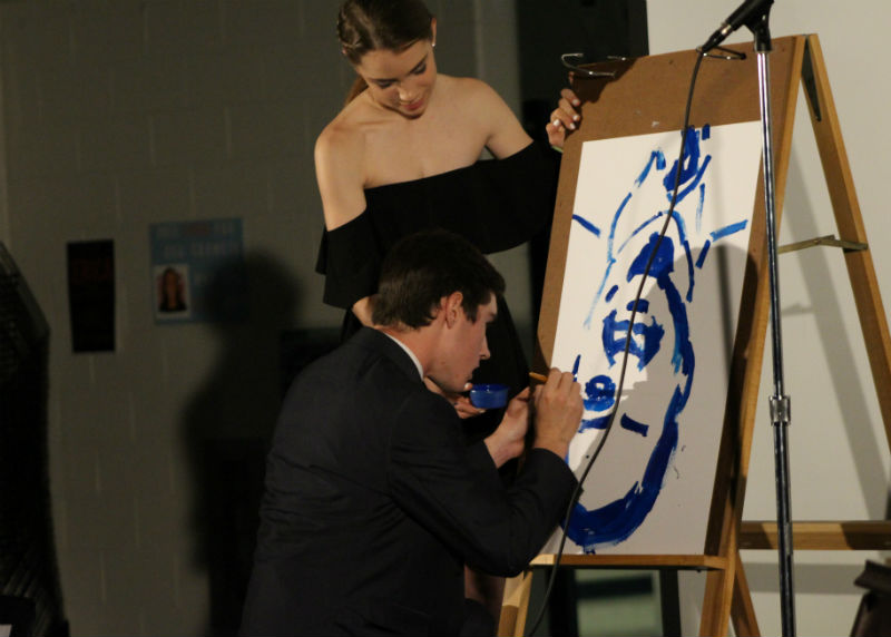 Spirit Week ended with the annual Mr. CHS competition. Sophomore Conor Martin of Spring Lake showcased his artistic abilities during the talent portion by painting a portrait of Principal James Gleason.