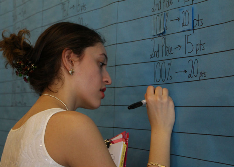 SGA Vice President senior Julia Pardee of Freehold keeps track of grade points at the end of each day of Spirit Week on the bulletin board.