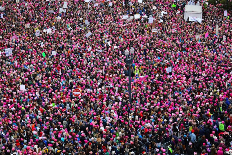 About 470,000 people participated in the Women's March in Washington D.C. on January 21.