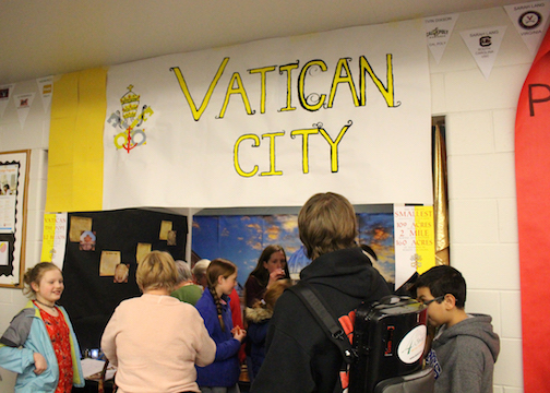 The winning group of juniors, The Vatican, filled their display with traditional Italian food and stained glass to lead the country to victory.