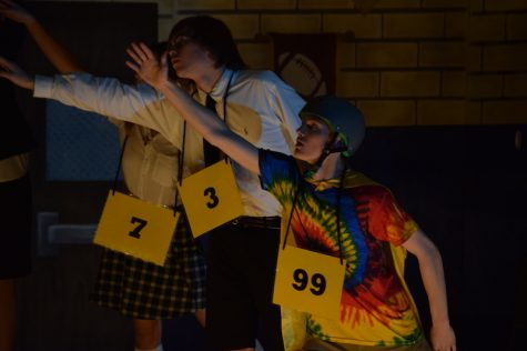 "Junior Jonathan Slovak of Spring Lake Heights portrays Leaf Coneybear in  ""The 25th Annual Putnam County Spelling Bee,"" at Belmar Elementary School."