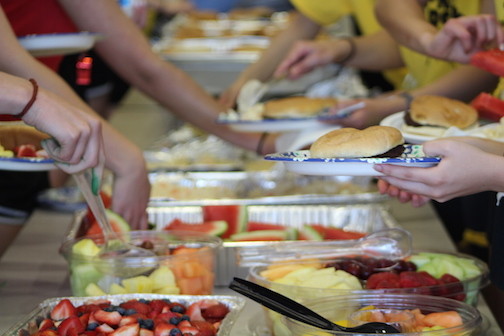 The PSFA provided a buffet lunch for students before the competition started back up with non-sporting events.