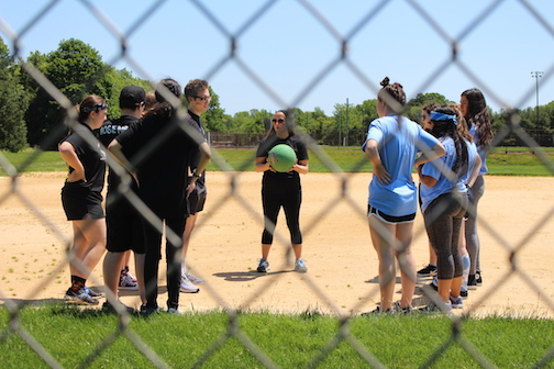 The sporting events took place first outside. Black team advisor and Spanish teacher Karen Britto monitored the kickball games.