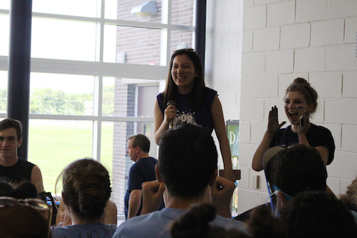 Newly elected SGA President for the 2017-18 school year and junior Jackie Geller of Manalapan announced the overall results at the end of the day.