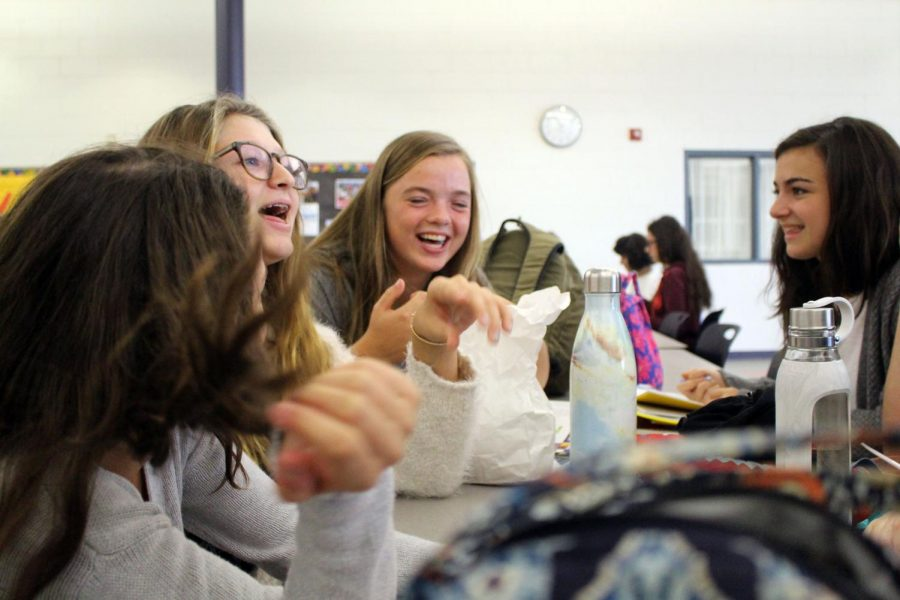 Sharing laughs during lunch are sophomores, from right, Bella Matuch of Spring Lake, Meredith Prud'homme of Ocean, Bella Reilly of Avon and Isabella Antoon of Oceanport. The girls enjoy spending time together during their hour long lunch/activity period.