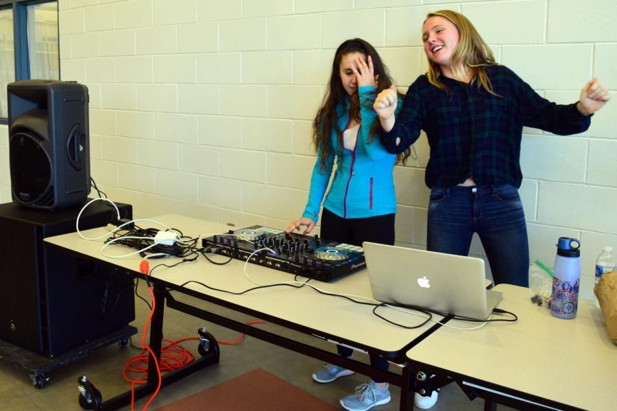 """unior Caroline Monaghan, right, of Middletown dances alongside her fellow DJ senior Julianne Sackett of Rumson during their DJ Friday session. Hits in their setlist included Nicki Minaj's """"Super Bass"""", Jason Derulo's """"Solo"""" and Corinne Bailey Rae's """"Put Your Records On."""""""