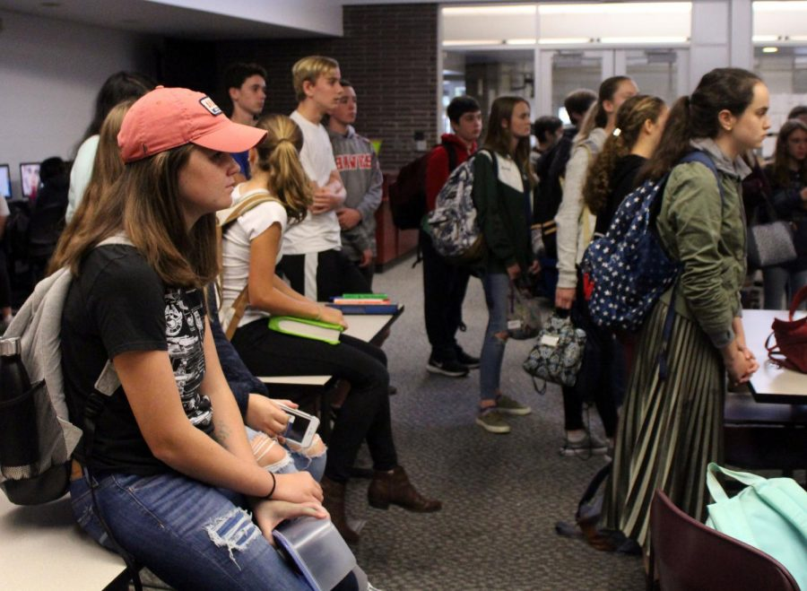 Students from all grade levels meet in open lab room 107 during first half of lunch for a CCC meeting on Tuesday. At the meeting, upcoming events were discussed. The club's president this year is senior Veronica Yaron of Little Silver.