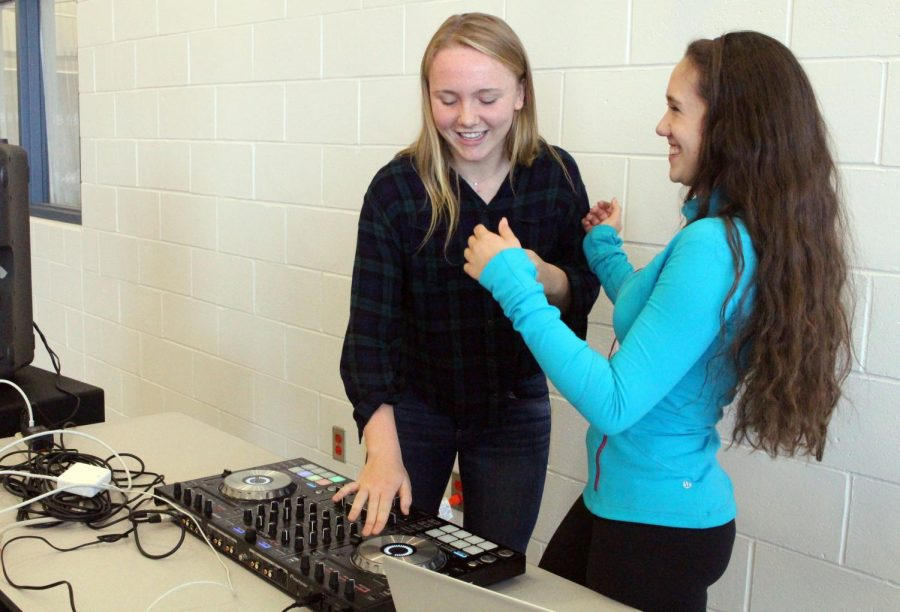 """Every Friday students enjoy music during lunch. Each week, different students volunteer to DJ and get to choose the songs they want to play. This week's """"DJ Friday"""" was hosted by junior Caroline Monaghan of Middletown, left, and senior Julianne Sackett of Rumson."""