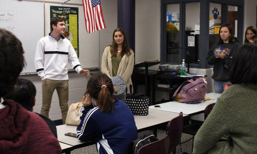 SkillsUSA held a meeting Thursday during first half of lunch in room 141. Council member Connor Martin, left, of Spring Lake, and president and senior Emma Wilenta of Wall, discussed the upcoming Homecoming dance, which will be held on Friday, Nov. 3.
