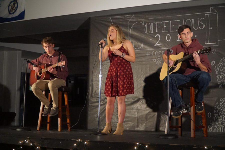 Seniors+Matthew+Avena+of+Middletown%2C+Abigail+Karl+of+Monmouth+Beach+and+Kyle+Robinson+of+Middletown+performed+the+last+number+of+Coffeehouse.+
