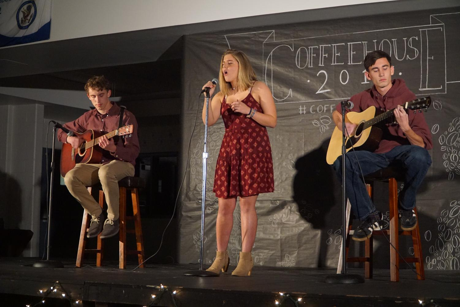 Seniors Matthew Avena of Middletown, Abigail Karl of Monmouth Beach and Kyle Robinson of Middletown performed the last number of Coffeehouse.