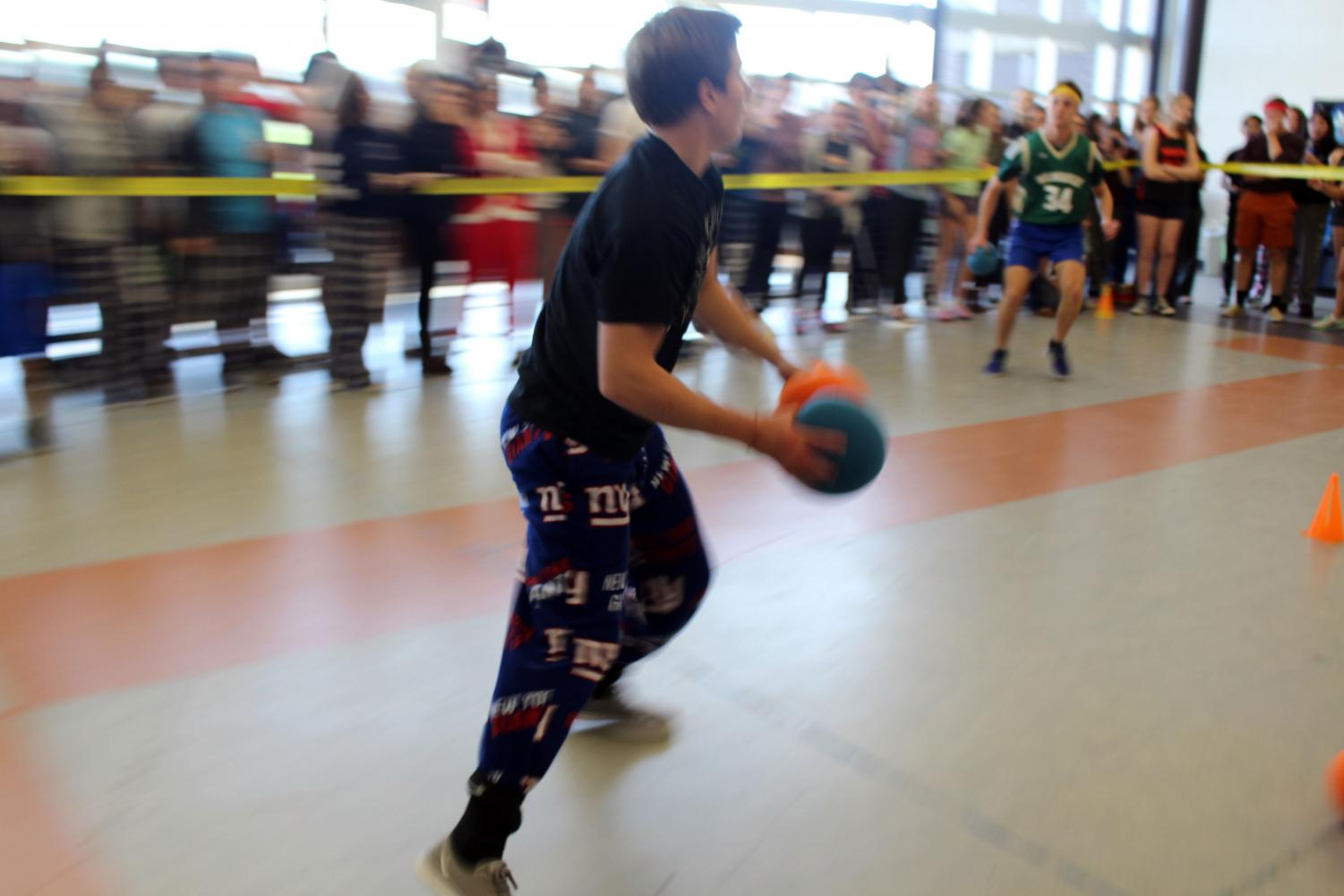Armed+with+two+dodgeballs%2C+sophomore+Michael+Cielecki+of+Spring+Lake+Heights+helped+carry+his+class+to+victory+in+the+Dodgeball+tournament+during+lunch+on+Friday%2C+Nov.+3.