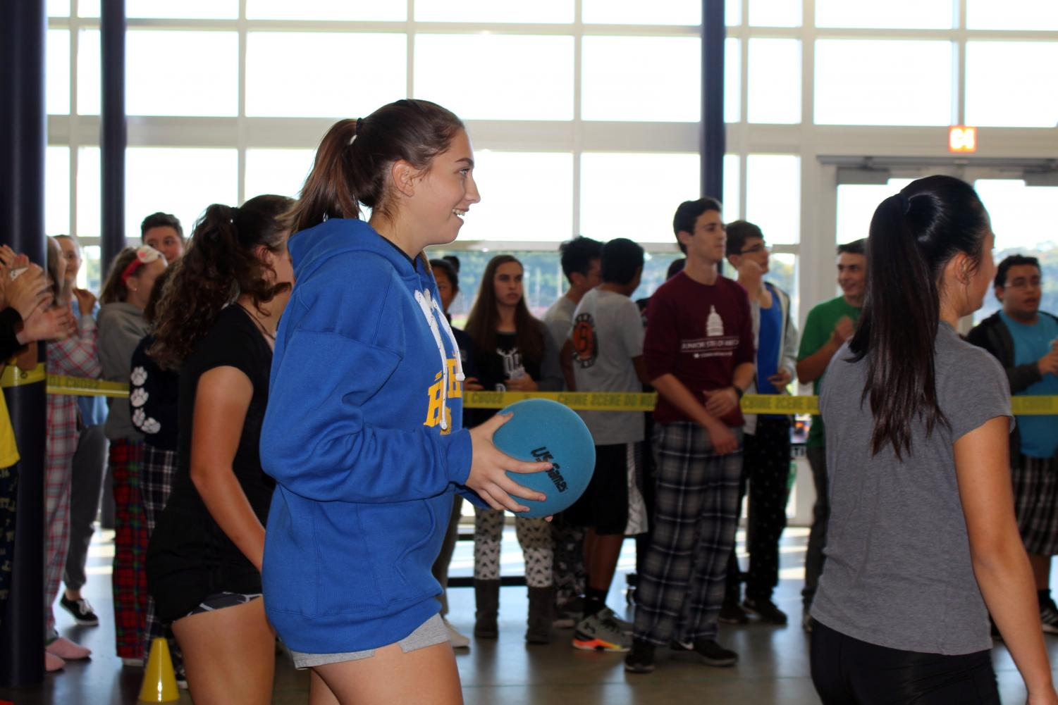 Junior+Kate+Dickenson+of+Spring+Lake+Heights+was+one+of+three+girls+on+her+dodgeball+team.+Dickenson+was+the+first+to+be+eliminated+during+the+game+for+third+place+against+the+seniors.+The+juniors+placed+last+in+the+event%2C+followed+by+the+seniors+in+third%2C+the+sophomores+in+second+and+the+freshmen+in+first.