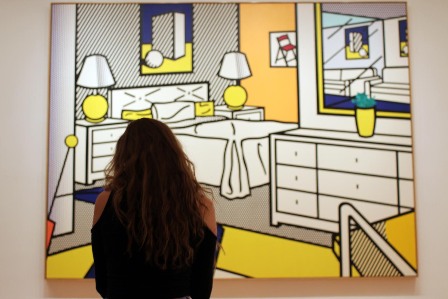 Junior Cailey Ruderman of Marlboro views a 1992 Roy Lichtenstein piece titled