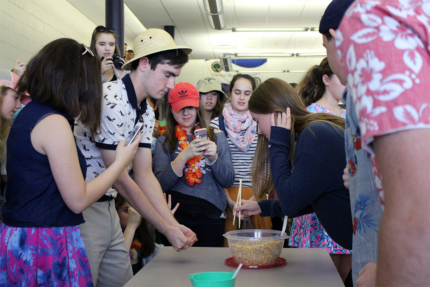 Teams of four competed in a series of events during the Minute to Win It lunchtime competition.
