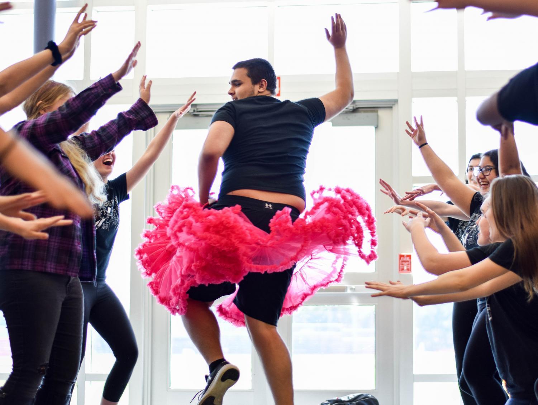 Sophomore RJ Franzen of Allentown dances to
