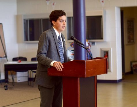 Alumnus Liam Marshall of Sea Girt giving his SGA speech in 2018.