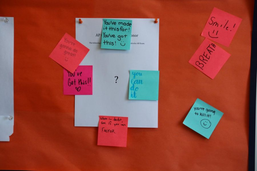 Students in math classes this semester wrote on Post-it notes to encourage AP Calculus students on their exams. These Post-its were then hung in various locations around Lane's classroom.