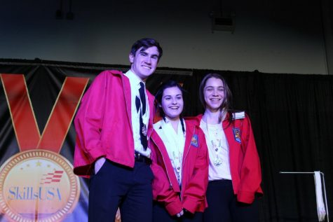 Juniors and newly elected SkillsUSA council members Connor Martin of Spring Lake Heights (left), Alexis Colucci of Middletown and Erica Sammarco of Colts Neck at a Skills competition. Junior Grace McCaffrey of Middletown is not pictured but was also elected to the council.