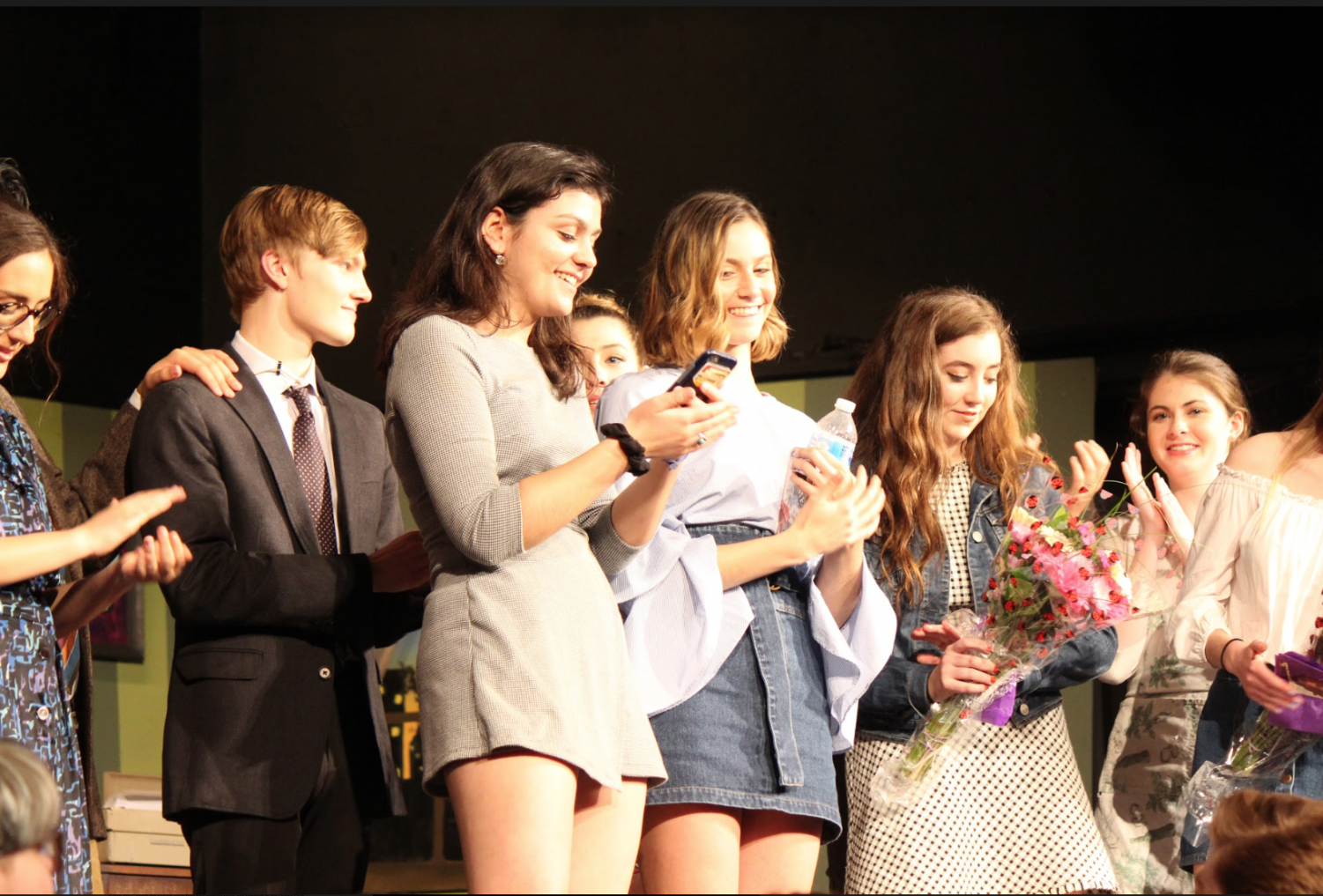 Seniors Lara Graney of Belmar, Drama Club director, and Izzy Cavazzoni of Wall, Drama Club producer, thank the audience for attending