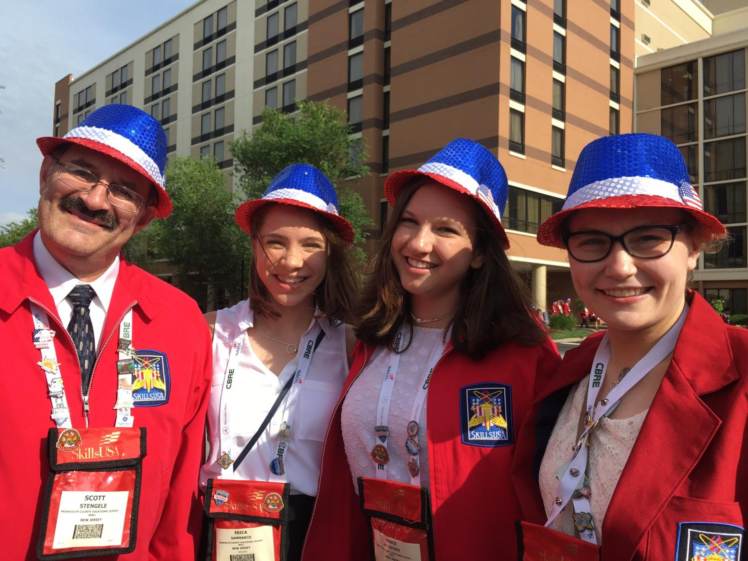 From left, math teacher and SkillsUSA advisor Scott Stengele, rising senior Erica Sammarco of Colts Neck, rising senior Grace McCaffrey of Middletown, and recent graduate Karoline Winzer of Matawan attend SkillsUSA Nationals in Louisville, Kentucky.