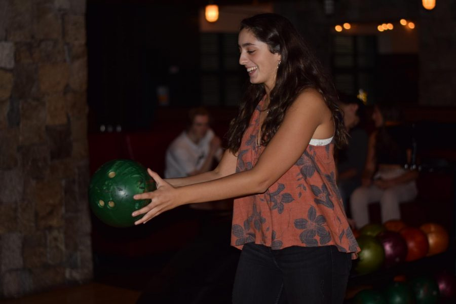 Senior Audrey Wilenta of Wall bowls at Bowlmor Times Square as part of the Class of 2019's first senior trip.