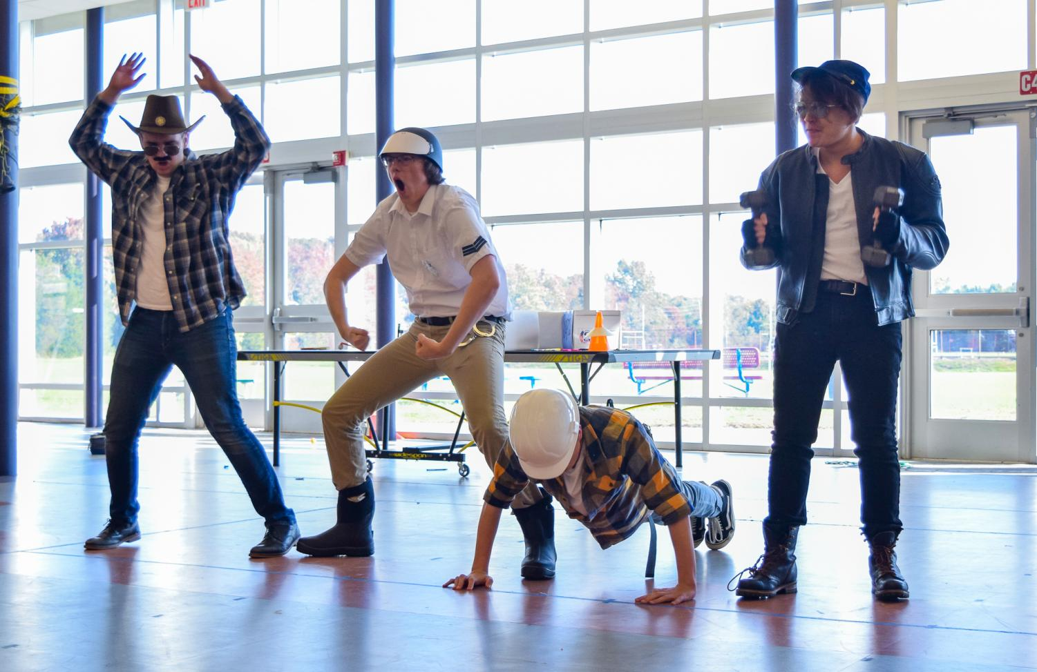 Juniors Vaughn Battista of Tinton Falls, Ryan Swanson of Brielle, Michael Landolfi of Tinton Falls, and Nick Chunn of Tinton Falls were just a few of the many students that entered the annual Halloween Costume Contest on Wed.