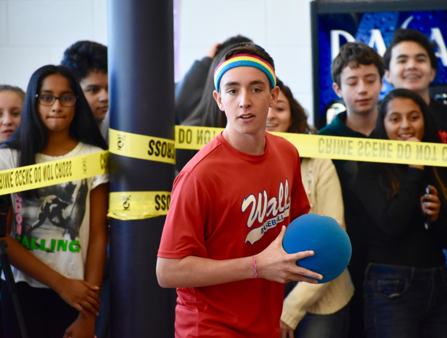 Sophomore+Ethan+Hecht+of+Wall+prepares+to+throw+his+ball.+The+Class+of+2021+placed+second+in+the+event.