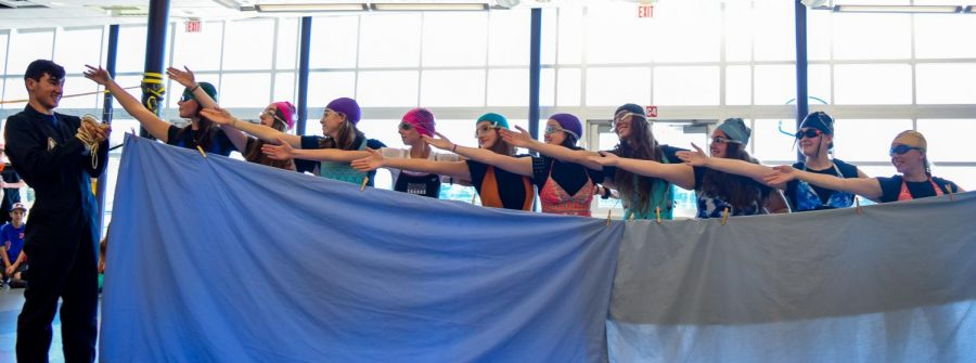 Seniors perform a synchronized swimming routine, taking home Best Group. The senior class came in first place with 15 points from winning both Best Group and Best Couple.