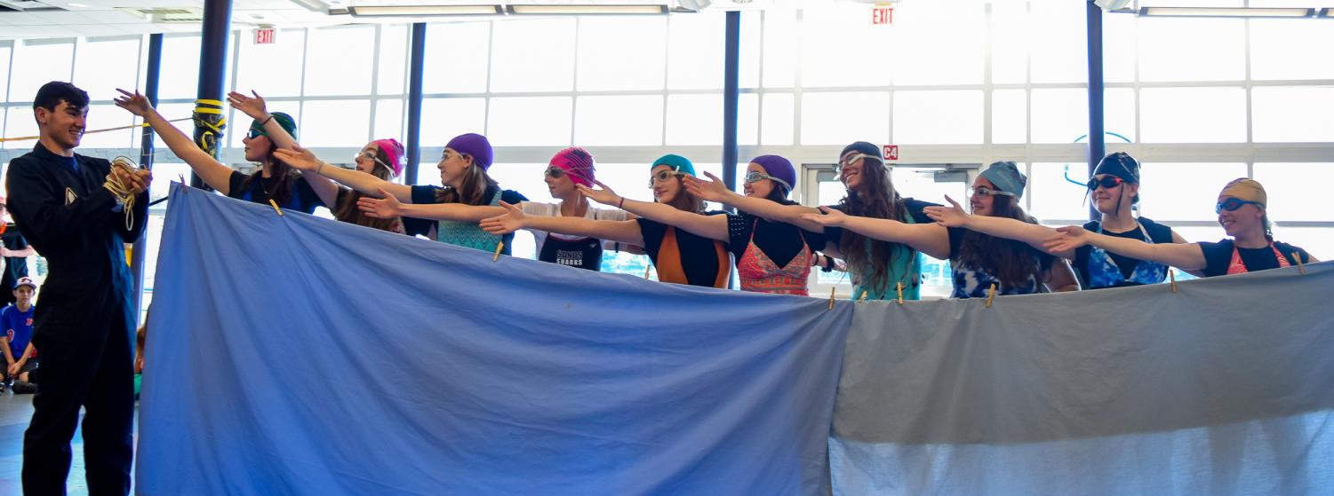Seniors+perform+a+synchronized+swimming+routine%2C+taking+home+Best+Group.+The+senior+class+came+in+first+place+with+15+points+from+winning+both+Best+Group+and+Best+Couple.
