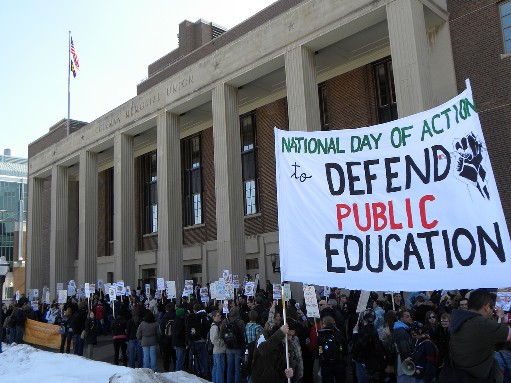 People rally at the University of Minnesota in 2010 to defend public education.