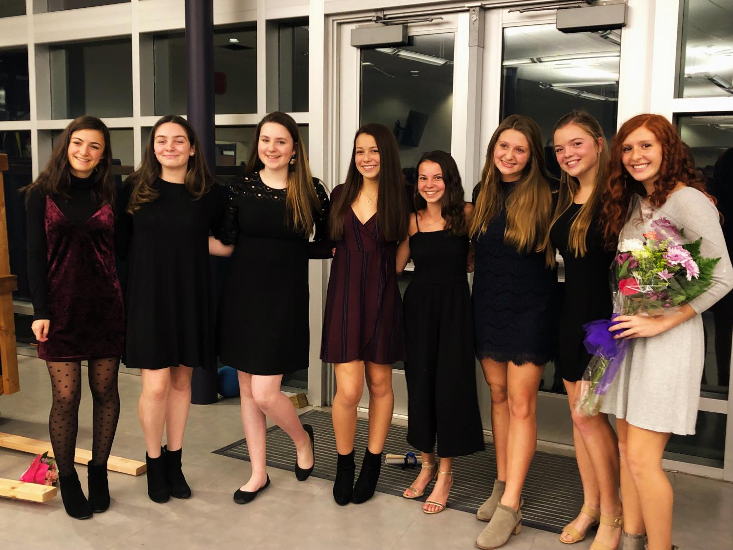 (Left to right) Juniors Bella Matuch of Spring Lake, Abby Tellechea of Monmouth Beach, Lauren Tarigo of Sea Girt, Juliana Greenwood of Wall, Isabella Antoon of Oceanport, Bella Reilly of Avon, Meredith Prud'homme of Ocean, and Mary Eknoian of Wall.
