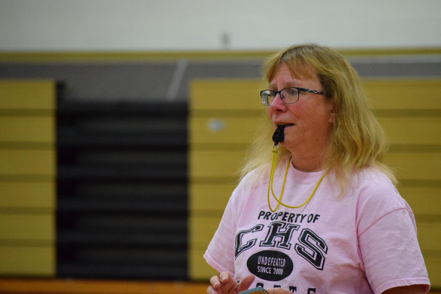 Fitness teacher and Class of 2021 adviser Ginny Clevenger reffed the 2017 3v3 tournament.