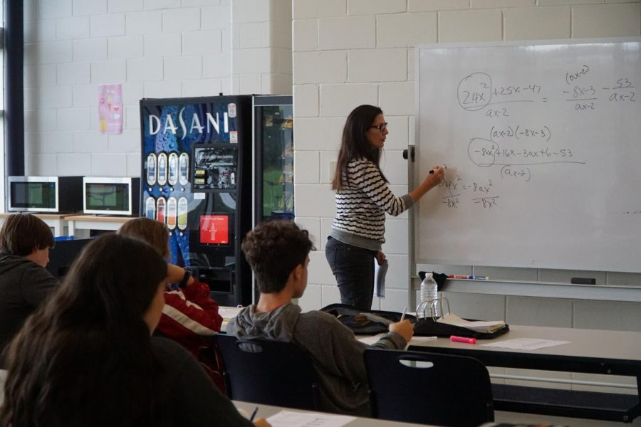 Math teacher Paula Gilligan teaches in the cafeteria, which became a makeshift classroom during the relocation.