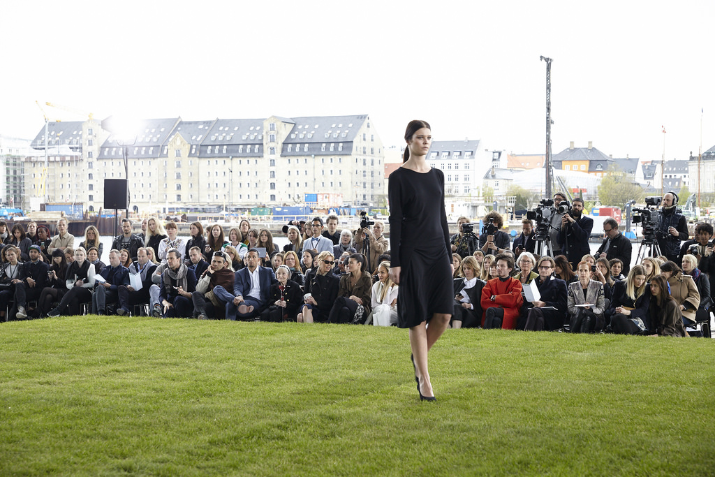 A model at the 2014 Copenhagen Fashion Summit walks in the Sustainable Runway Show.
