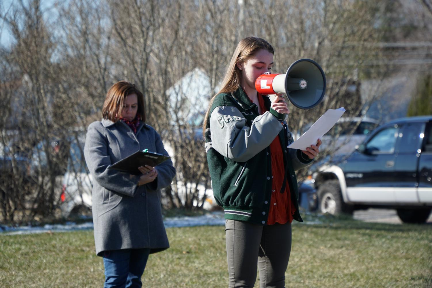 Senior Erica Sammarco of Colts Neck speaks at the 2018 Walkout in honor of those killed during the Parkland shooting.