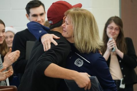 On her last day, current and former students honor guidance counselor Carol Caruso.