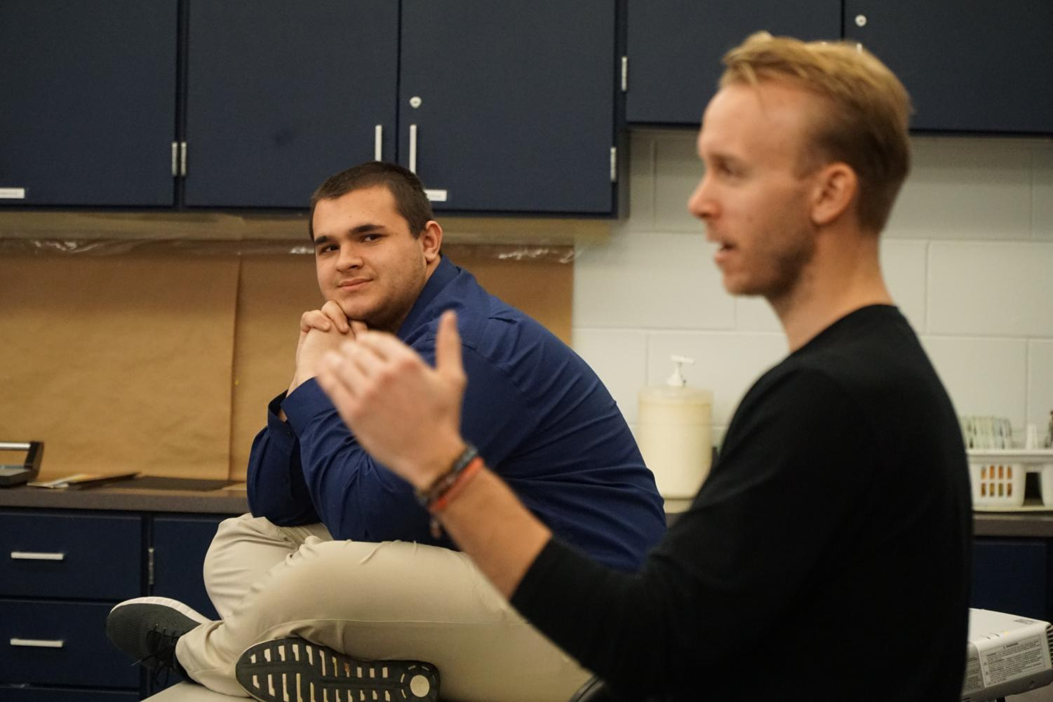Junior RJ Franzen of Allentown listens to a speaker from Goodsports USA at Career Day.